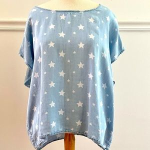 Blue Chambray short sleeve Summer Top white stars